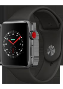 Apple Watch Series 3 - 42MM Alu Case Space Grey -  Black Sport Band - 4G