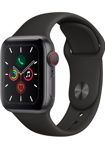 Apple Watch Series 5 - 40MM Alu Case Space Grey - Black Sport Band - 4G