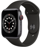 Apple Watch 6 - 44mm Space Grey Aluminium Case - Black Sport Band - 4G