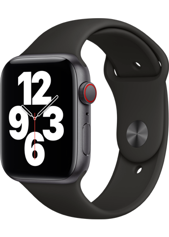 Apple Watch SE - 44mm Space Gray Aluminium Case - Black Sport Band - 4G
