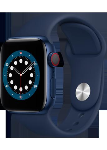 Apple Watch 6 - 40mm Blue Aluminium Case - Deep Navy Sport Band - 4G