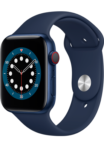 Apple Watch 6 - 44mm Blue Aluminium Case - Deep Navy Sport Band - 4G
