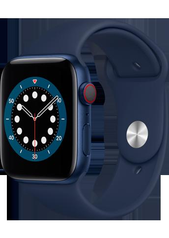 Apple Watch 6 - 44mm Blue Aluminium Case - Deep Navy Sport Band - 4G