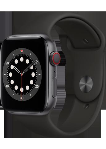 Apple Watch 6 - 44mm Space Grey Aluminium Case - Black Sport Band - 4G