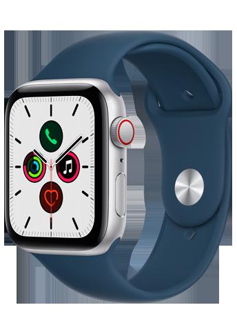 Apple Watch SE - 44mm Silver - Aluminium Case - Blue Sport Band - 4G