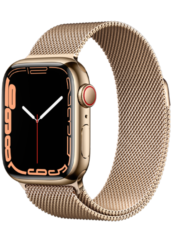 Apple Watch 7 – 41mm – Gold Stainless Steel Case – Gold Milanese Loop Band – 4G