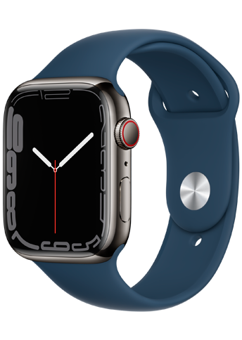 Apple Watch 7 – 45mm – Graphite Stainless Steel Case – Abyss Blue Sport Band – 4G