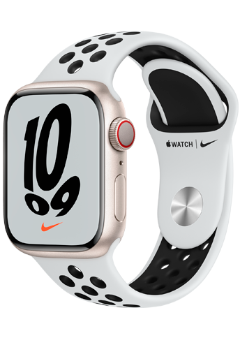 Apple Watch 7 – 41mm – Starlight Aluminum Case – Pure Platinum/Black Nike Sport Band – Nike Edition – 4G