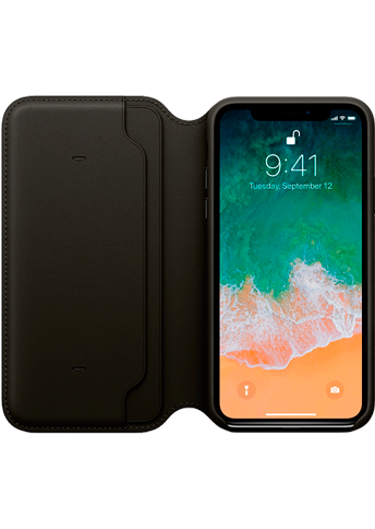 Apple iPhone X Leather Folio Black