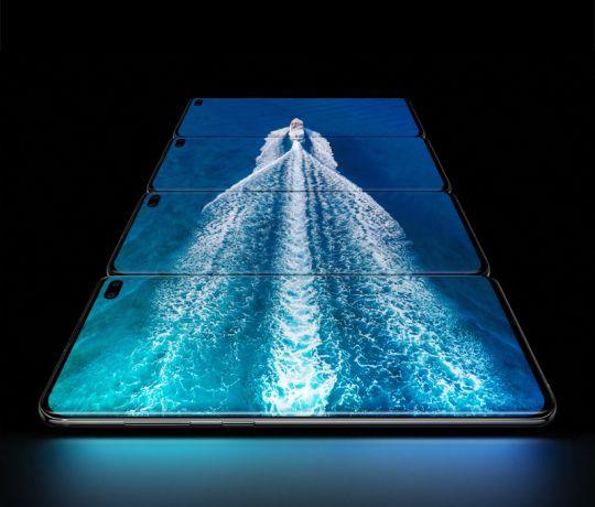 Infinity display og fingeraftrykslæser i skærmen