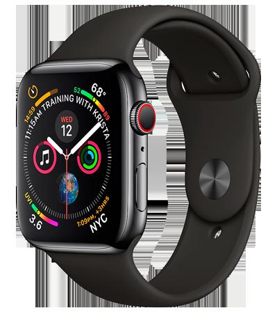 Apple Watch 4 Stainl.St Black Sport 44mm