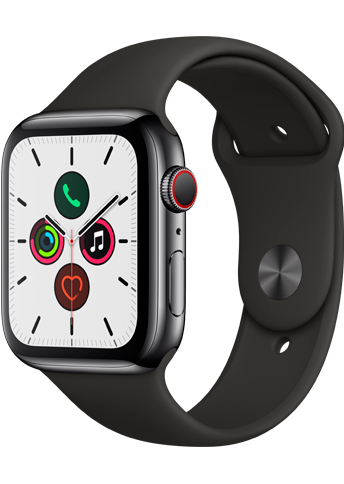 Apple Watch Series 5 - 44MM Stainless Steel case Black - Sport Band - 4G