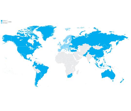 Fuld frihed i 94 lande i hele verden